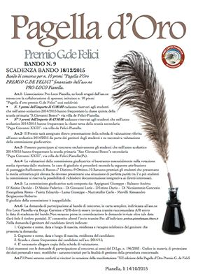XVIII ed. Premio G.Porto - Rosone d\'Oro e XII ed. Pagella d\'Oro - Premio G.de Felici : bandi di concorso