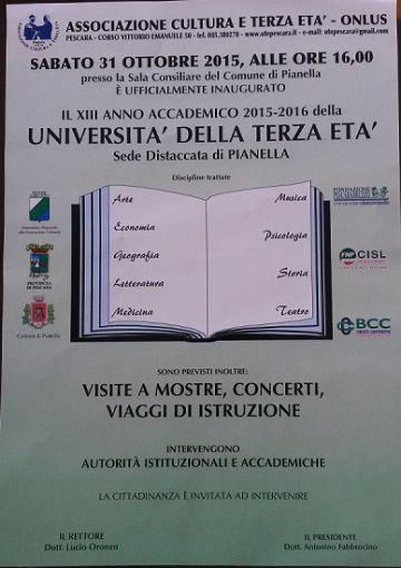 Inaugurazione XIII Anno Accademico Università della Terza età - 31 ottobre 2015 ore 16:00